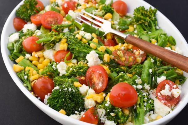 BROCOLLINI CORN & FETA SALAD